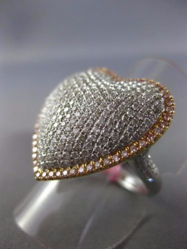 LARGE 1.76CT WHITE & PINK DIAMOND 18KT WHITE & YELLOW GOLD 3D HEART CLUSTER RING