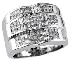 ESTATE LARGE 1.80CT PRINCESS CUT DIAMOND 14KT WHITE GOLD 3D INVISIBLE MENS RING
