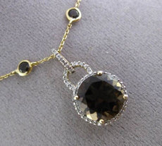 ESTATE LARGE 5.85CT DIAMOND & SMOKEY TOPAZ 14KT YELLOW GOLD BY THE YARD NECKLACE