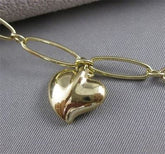 "TIFFANY & CO. ELSA PERETTI 18K YELLOW GOLD LINK BRACELET HEART CHARM 7.25"" #2628"