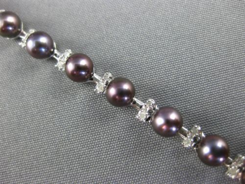 .70CT DIAMOND & AAA TAHITIAN PEARL 14K WHITE GOLD 3D BY THE YARD TENNIS BRACELET