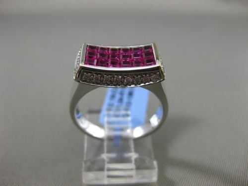 ESTATE WIDE 2.22CT DIAMOND & AAA RUBY 18KT WHITE GOLD CURVED RECTANGLE FUN RING