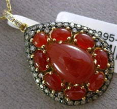 ESTATE LARGE .51CT WHITE & FANCY DIAMOND & RED AGATE 14KT YELLOW GOLD 3D PENDANT