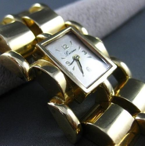 ANTIQUE WIDE & LONG 14KT YELLOW GOLD LUCINE SQUARE FACE LADIES WATCH #1022
