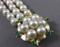 ANTIQUE WIDE .30CT AAA EMERALD & AAA PEARL 14K YELLOW GOLD 3 ROW BRACELET #23376