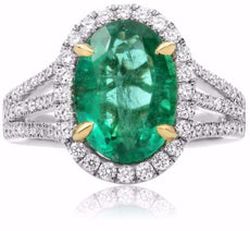 LARGE 4.37CT DIAMOND & AAA EMERALD 18K 2 TONE GOLD FILIGREE OVAL ENGAGEMENT RING