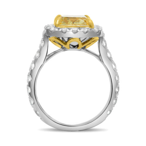 ESTATE LARGE 5.19CT WHITE & FANCY YELLOW DIAMOND 18K 2 TONE GOLD ENGAGEMENT RING