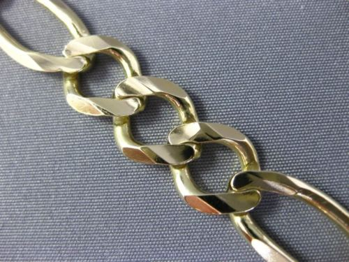 ESTATE WIDE & LONG 14KT YELLOW GOLD 3D CLASSIC SOLID FIGARO MENS BRACELET #25945