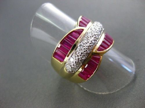 ESTATE WIDE 2.25CT DIAMOND & AAA RUBY 18KT 2 TONE BAGUETTE & ROUND RING #22081