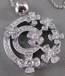 LARGE ESTATE 1.90CTW DIAMOND 14KT WHITE GOLD FLOWER CIRCLE PAVE PENDANT #19907