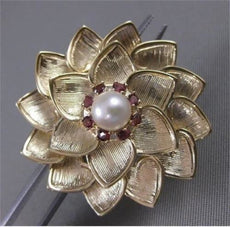 ANTIQUE LARGE .24CT GARNET & PEARL 14KT YELLOW GOLD FLOWER FILIGREE BROOCH 20413