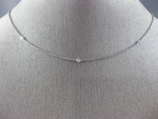 ESTATE .13CT ROUND DIAMOND 18K WHITE GOLD 3D CLASSIC BY THE YARD NECKLACE