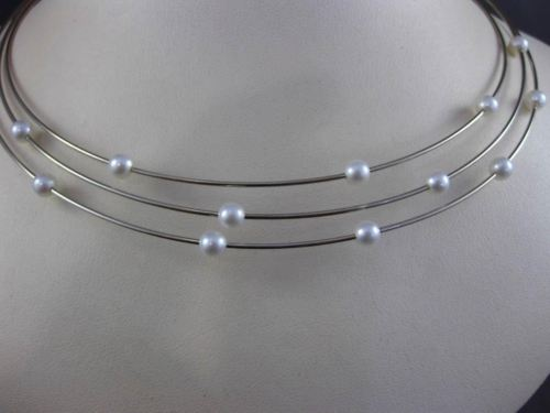 ESTATE 14KT WHITE GOLD SOUTH SEA PEARL BY THE YARD ITALIAN CHOKER NECKLACE 22805
