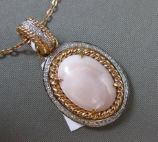 ESTATE LARGE .28CT DIAMOND & PINK AGATE 14K TWO TONE GOLD ROPE OVAL HALO PENDANT