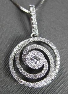 ANTIQUE .50CT ROUND DIAMOND 18KT WHITE GOLD FLOATING FLOWER PENDANT & CHAIN