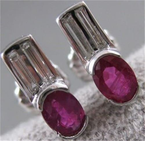 ANTIQUE 1.21CT DIAMOND & RUBY 14K WHITE GOLD HANGING POST EARRINGS F/G VS #16051