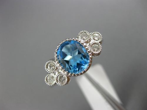 2.20CT DIAMOND & AAA OVAL BLUE TOPAZ 14KT WHITE GOLD 3D FILIGREE ENGAGEMENT RING