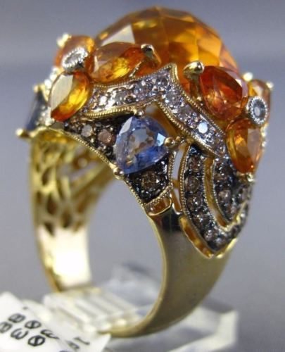 25.2CT WHITE CHOCOLATE FANCY DIAMOND AAA SAPPHIRE & CITRINE 14K YELLOW GOLD RING