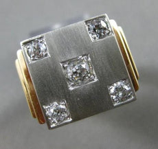 ESTATE EXTRA LARGE .60CT OLD MINE DIAMOND 14KT TWO TONE GOLD 3D MENS RING #24823