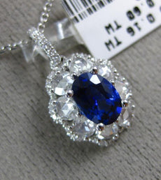 ESTATE LARGE 1.64CT OLD MINE DIAMOND & AAA SAPPHIRE 18KT WHITE GOLD OVAL PENDANT