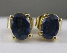 ESTATE 1.11CTW SAPPHIRE 14K YLW GOLD OVAL STUD PUSHBACK EARRINGS 6MM x 4MM 20317