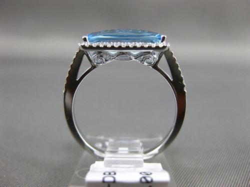 1.72CT DIAMOND & AAA BLUE TOPAZ 14KT WHITE GOLD 3D FILIGREE HALO ENGAGEMENT RING