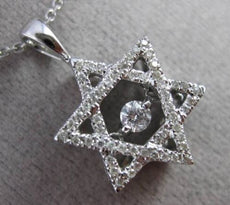 ESTATE .25CT DIAMOND 14KT WHITE GOLD FLOATING STAR OF DAVID PENDANT & CHAIN
