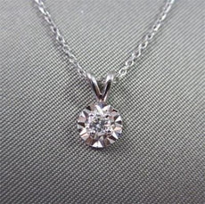 ANTIQUE .07CT OLD MINE DIAMOND SOLITARE 14KT WHITE GOLD PENDANT G VS #21936