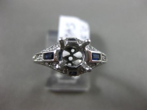ANTIQUE .29CT DIAMOND & SAPPHIRE PLATINUM 3D FILIGREE SEMI MOUNT ENGAGEMENT RING