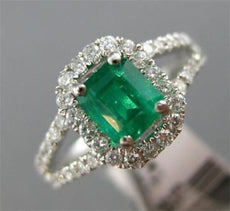 ESTATE 1.28CT DIAMOND & AAA EMERALD 14KT WHITE GOLD SQUARE HALO ENGAGEMENT RING