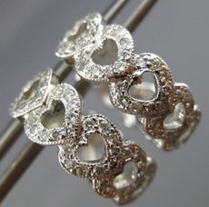 ESTATE WIDE .62CT DIAMOND 14KT WHITE GOLD 3D MULTI HEART LOVE HUGGIE EARRINGS