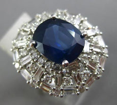 ESTATE 7.83CT DIAMOND & AAA SAPPHIRE 18KT WHITE GOLD CUSHION FANCY COCKTAIL RING