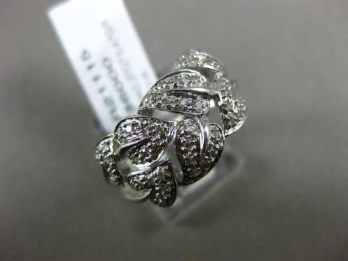 ESTATE .27CT DIAMOND 14KT WHITE GOLD 3D MULTI LEAF CRISS CROSS FUN LOVE RING