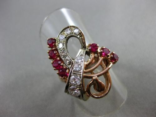 ANTIQUE LARGE 1.2CT OLD MINE DIAMOND & AAA RUBY 14K WHITE & ROSE GOLD RING 22916