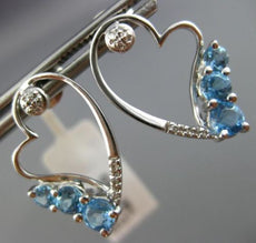 ESTATE 1.32CT DIAMOND & BLUE TOPAZ 14KT WHITE GOLD 3 STONE HEART STUD EARRINGS