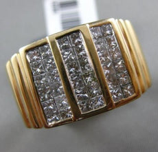 ESTATE LARGE 2.18CT PRINCESS DIAMOND 14KT YELLOW GOLD 3D MULTI ROW MENS RING