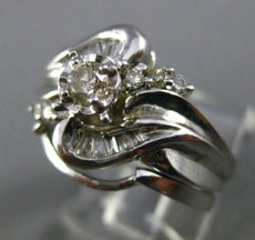 ESTATE WIDE .50CT DIAMOND 14KT WHITE GOLD 3D WAVE WEDDING ENGAGEMENT RING SET