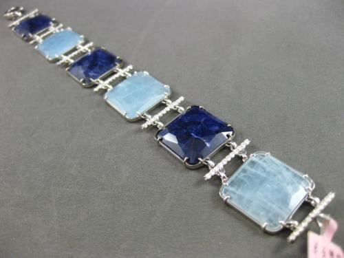 ESTATE WIDE & LONG 1.45CT DIAMOND & MULTI GEM 14KT WHITE GOLD 3D SQUARE BRACELET