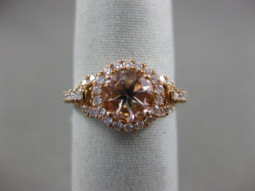 ESTATE 1.31CT DIAMOND & AAA ROUND MORGANITE 14KT ROSE GOLD HALO ENGAGEMENT RING