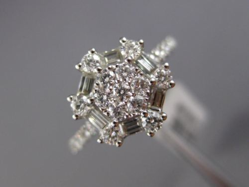 WIDE .89CT ROUND & BAGUETTE DIAMOND 18KT WHITE GOLD OCTAGON FLOWER CLUSTER RING