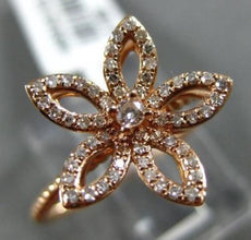 ESTATE .26CT ROUND DIAMOND 18KT ROSE GOLD 3D HANDCRAFTED FLOWER ROPE FUN RING