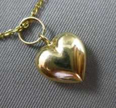 ESTATE SMALL 14K YELLOW GOLD DOUBLE SIDED PUFF HEART CHARM PENDANT & CHAIN 25231