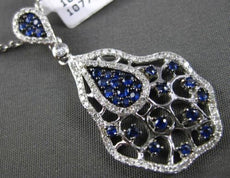 ESTATE LARGE .93CT DIAMOND & SAPPHIRE 14K WHITE GOLD SPIDER WEB FLOATING PENDANT