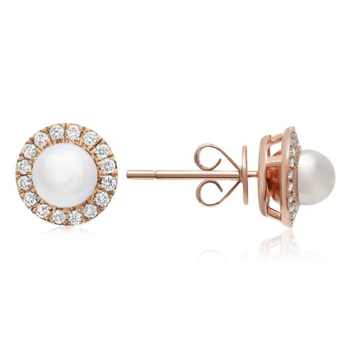 LARGE .17CT DIAMOND & AAA SOUTH SEA PEARL 14K ROSE GOLD 3D CLASSIC STUD EARRINGS