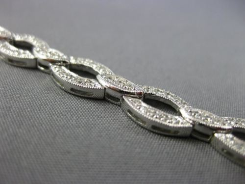 ESTATE WIDE 1.50CT ROUND DIAMOND 14K WHITE GOLD 3D OVAL INFINITY TENNIS BRACELET