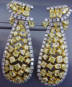 LARGE WHITE & INTENSE FANCY YELLOW DIAMOND 18K TWO TONE GOLD 3D HANGING EARRINGS