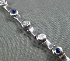ESTATE 1.0CTW DIAMOND & AAA SAPPHIRE 14KT WHITE GOLD BAMBOO BRACELET #22487