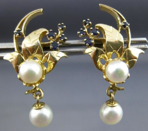 ANTIQUE LARGE .12CT AAA SAPPHIRE & PEARL 14KT YELLOW GOLD FLOWER EARRINGS 25898