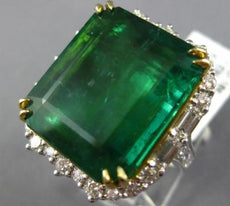 LARGE 27.5CT ROUND & BAGUETTE DIAMOND & EMERALD 18K 2 TONE GOLD ENGAGEMENR RING