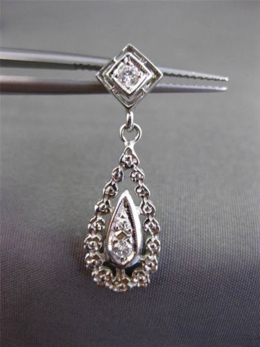 ANTIQUE .65CT DIAMOND 14KT WHITE GOLD 3D PEAR SHAPE DROP HANGING EARRINGS